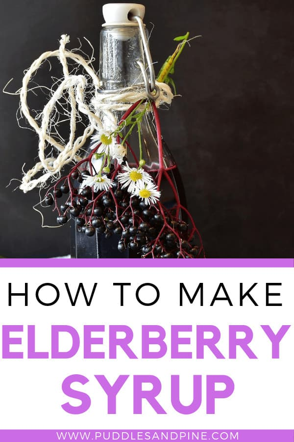 This recipe for DIY elderberry syrup is so incredibly easy and it tastes amazing! You can also make homemade elderberry syrup with essential oils for added tastes and benefits but for this recipe I left them out just for simplicity. Elderberry syrup is well known to help get rid of sickness naturally before you have to resort to behind the counter options so it's definitely worth a try! #elderberrysyrup #health #immunity
