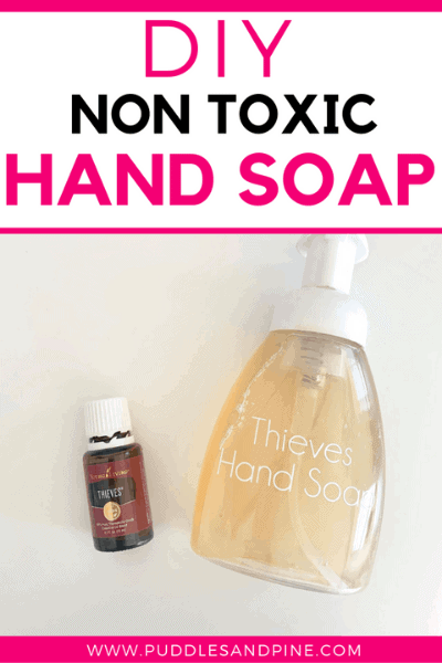 This DIY non toxic foaming hand soap is so awesome, it works just as well if not better than other store bought toxic alternatives. I experimented with all kinds of recipes for homemade foaming hand soaps when I was learning how to replace toxic household products with healthier, all natural, versions. Keep reading to learn how to make this foaming hand soap with essential oils! #handsoap #soap #foaminghandsoap #essentialoils #thieves