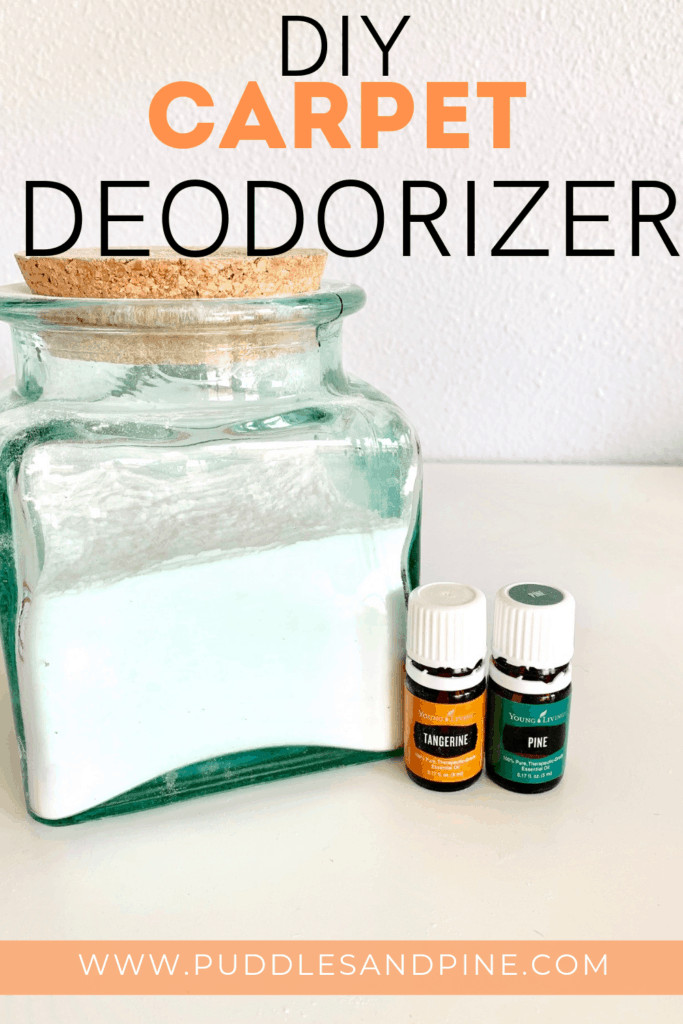 This homemade all natural carpet deodorizer is amazing and so easy to make! It only takes a few minutes to throw together and it actually works. You can easily eliminate carpet odors with essential oils and it's especially helpful if you have indoor pets. Keep reading to learn how to make this DIY homemade carpet deodorizer with essential oils!